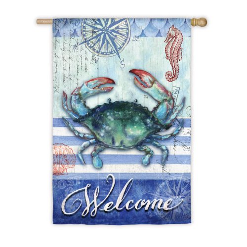 Striped Crab Welcome House Flag