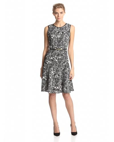Calvin Klein Women's Printed Fit-and-Flare Dress  [Black/Birch Antique Lace]