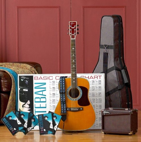 esteban tan turquoise acoustic electric guitar package w amplifier accessories and 10. Black Bedroom Furniture Sets. Home Design Ideas