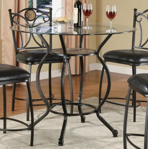 Cheap Counter Height Dining Table with Glass Top Black Bronze Finish (VF_AZ00-45879×29547)