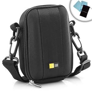 Protective Hard Shell Compact Digital Camera Carrying Case with Cross Body Travel Strap- Works with Nikon Coolpix 1 AW1 , A , P330 , S3500 , S9500 / Panasonic Lumix DMC-LF1 , DMC-GF6 , DMC-XS1 , DMC-SZ3 , DMC-SZ30 & More Cameras