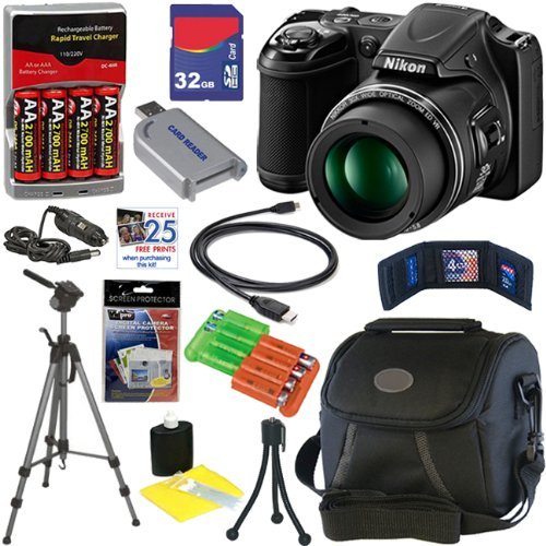 Nikon COOLPIX L820 16MP Digital Camera with 30x Zoom (Black)+Batteries+AC/DC Rapid Charger+11pc Bundle 32GB Deluxe Accessory Kit at Sears.com