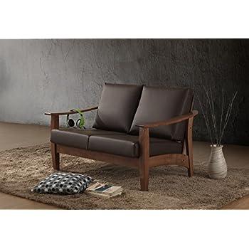Baxton Studio Philbert Mid Century Modern Walnut Wood and Dark Brown Faux Leather 2 Seater Loveseat Sofa