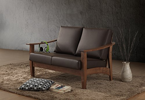 Baxton Studio Philbert Mid Century Modern Walnut Wood and Dark Brown Faux Leather 2 Seater Loveseat Sofa 0