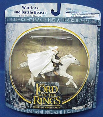Picture of New Line Cinema 2004 - New Line / Play Along - Lord of the Rings : Armies of Middle Earth - Pippin & Gandalf on Shadowfax - Warriors & Battle Beasts - Battle Scale Figures - Out of Prodcution - Limited Edition - Collectible (B000U5W29C) (New Line Cinema Action Figures)