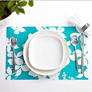 Set of 4 Placemats Insulation PVC Mats Tables Coasters Kitchen Dining Table, Placemats Colorful (Blue)