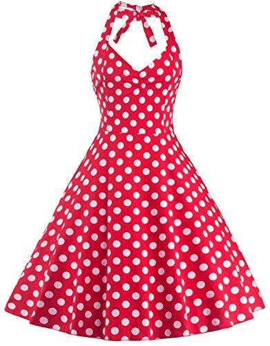 video-de-las-mujeres-lunares-1950s-ama-de-casa-vintage-coctel-prom-cabestro-vestido-de-swing-rojo-ro