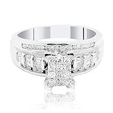 buy 0.5Cttw Diamond Bridal Wedding Ring 10K White Gold 9Mm Wide