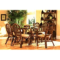 Antigua Rattan Dining Set - 7 Pieces (4 Side Chairs + 2 Arm Chars + Oval Dining Table) Antigua Rattan Dining Collection