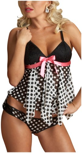 Escante Women's Polka Dot Baby Doll, Black/White, Large