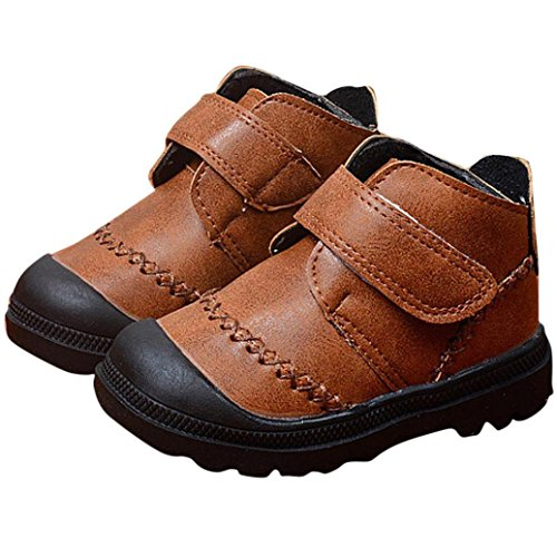 Muxika Winter Unisex Kids Baby Warm Thick Anti-slip Shoes Snow Boots Outwear (Age:1-2 Years, Brown)
