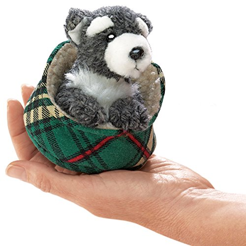 Folkmanis Mini Schnauzer In Bed Finger Puppet - 1