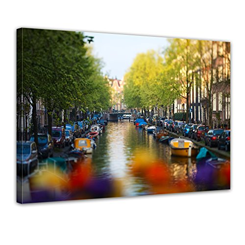 """Bilderdepot24 Leinwandbild """"Amsterdam - Niederlande"""" - 70x50 cm 1 teilig - fertig gerahmt, direkt vom Hersteller"""
