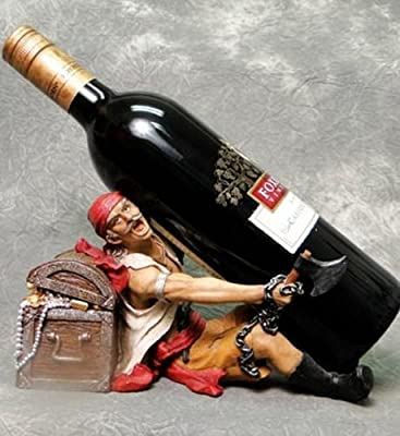 Pirate in Chains on a Treasure Chest Wine Drink Bottle Holder