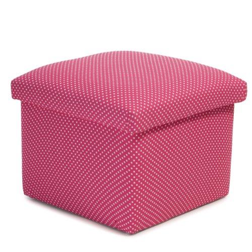 Dahlia Pink Polka Dot Kids Storage Ottoman