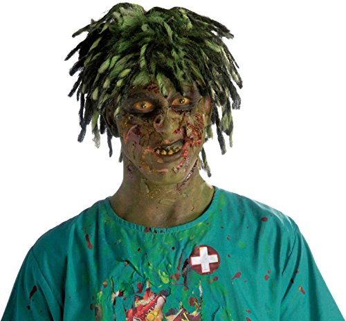 Contaminated Dead Zombie Wig Mens Biohazard Costume Accessory Green Dreadlocks