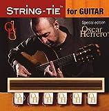 OHSTGW TENOR Oscar Herrero Signature String-Tie Tailpiece BridgeBeads Set for Classical or Flamenco Spanish Guitar, PEARL BONE WHITE Color Bridge Beads.