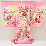 お宮参り 着物 女 「日本製・京友禅手描きピンク地にぼかし 鞠 花車 花 金糸の彩り」 正絹 祝着  初着 お宮参り 産着 宮参り おみやまいり きもの キモノ 女児 女の子 kimono omiyamairi 日本製