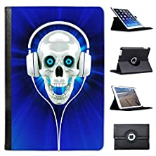 buy Raving Skull With Headphones In Blue For Apple Ipad Mini, Ipad Mini 2, Ipad Mini Retina, Ipad Mini 3 Faux Leather Folio Presenter Case Cover Bag With Stand Capability