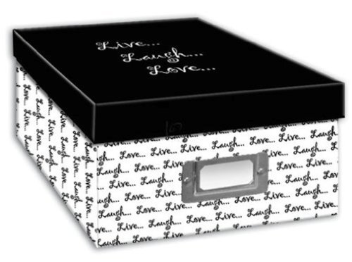 Pioneer Photo Albums B-1BW Photo Storage Box, Live, Laugh, Love Design