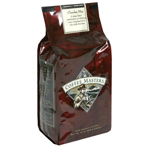 Coffee Masters Flavored Coffee, Chocolate Mint, Ground, 12-Ounce Bags (Pack of 4)