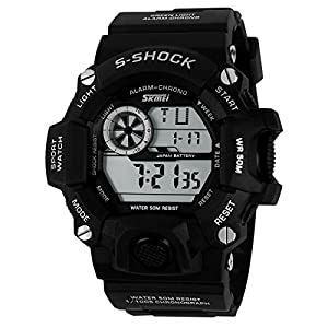Water-resistance and Shockproof Watches Casual Men's Watches Students Boy Girl Sports Watch - Black