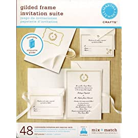 Martha Stewart Ivory / Gold Gilded Frame Wedding Invitation Suite (48  Count) With 5 Page Wedding Etiquette Booklet