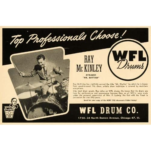 1952 Ad WFL Drums Ray McKinley Jazz Big Band Percussion   Original Print Ad