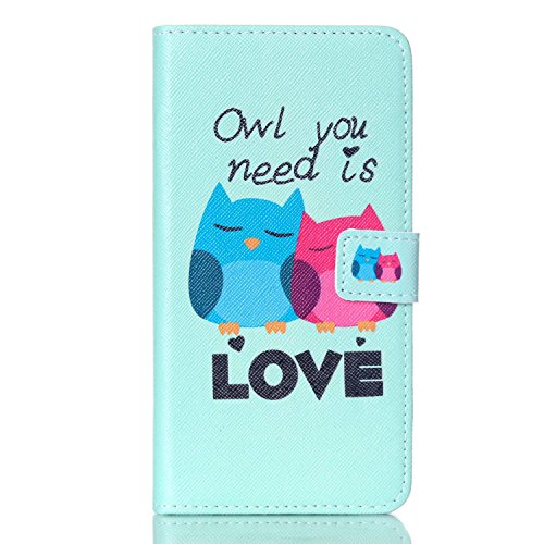 Firefish High Grade Flip Slim PU Leather Wallet Stand Case Protector Cover with Card Slots and Magnetic Closure for Samsung S6 Edge PLUS / S6 edge+ -Owl lovers from Firefish