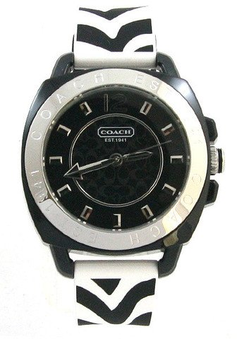 Coach Womens Boyfriend Silicone Rubber Zebra Strap Watch 14501622