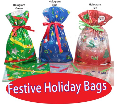CHRISTMAS- Gift Bag 36 Pc. Set  Inserted Ribbons