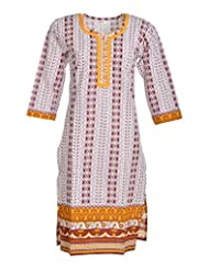 Global Women's Cotton Straight Kurta (GW63Whitep40015, Multi, 40)