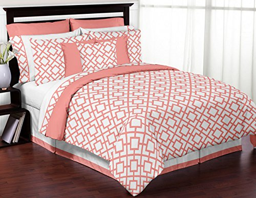 Modern White and Coral Diamond Geometric Peach Full / Queen Bed Bedding Teen Girl Childrens Comforter Sheet Set