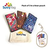 Pack of 3 Thick Foldable Reusable Eco friendly Wallet Style Grocery Shopping Travel Bag Tote by Sunny Tag. Water Repellent, Washable Nylon, Hold up to 33 LBS or 15 KG. Floral, Dots and Paisley