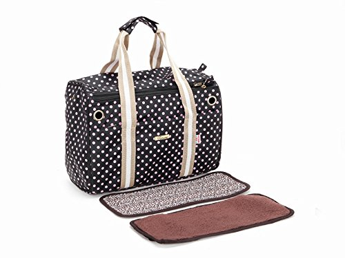 Black with Pink Dot Dog Totes Bag Pet Travel Carriers Cage Puppy Purse Cat Handbag Doggy Pouch