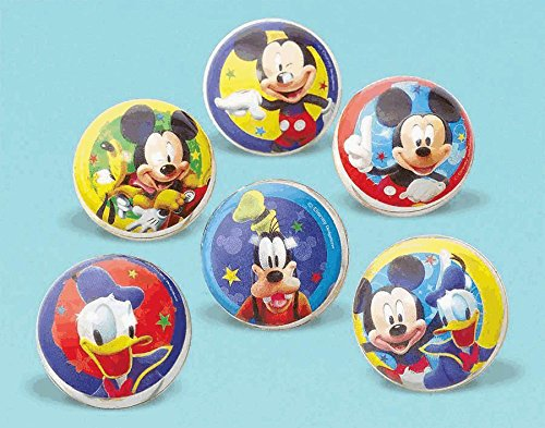 Amscan Disney Mickey Party Mouse Bounce Ball (6 Piece), Blue/Red/Yellow