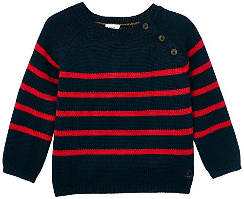Petit Bateau Baby-Boys Newborn Striped Sweater With Button Detail, Red/Navy, 3 Months