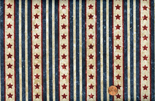 Northcott 'Stars and Stripes II' Stonehenge Quilt of Valor Repeating Stripes Cotton Fabric 44-45 Inches Wide