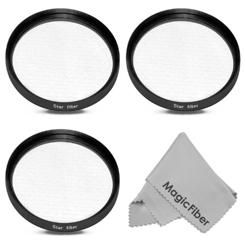 52Mm Professional Star Filter Set For Dslr Cameras - Includes: 4-Point, 6-Point, And 8-Point Star Filters + Premium Magicfiber Microfiber Lens Cleaning Cloth