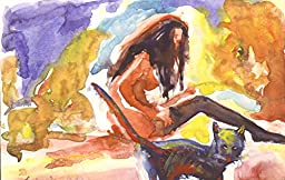 1 0 x 7, Girl in stocking with cat, watercolor original by Andrejs Bovtovics. FREE shipment.