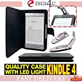 Digi4U LEATHER WALLET CASE COVER & Robotic Reading Book Light for FOR AMAZON KINDLE 4G