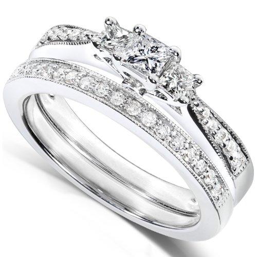 2/5 Carat TW Three-Stone Princess Diamond Wedding Ring Set in 14k White Gold