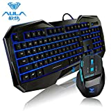 AULA High Quality Keyboard and Mouse sets, Blue LED Ergonomic Keyboard + 2000 DPI Wired USB Game Mouse Illuminated Backlit Multimedia Gaming Combos