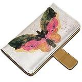 Bierstadt - Butterfly, Custodia in Pelle Portafoglio Magnetico Flip Stand Wallet Case Cover Shell Borsa Copertura...