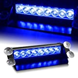 8 LED Warning Caution Car Van Truck Emergency Strobe Light Lamp For Interior Roof / Dash / Windshield (Blue)