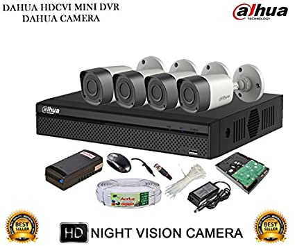 Dahua DH-HCVR4104HS-S2 4CH Dvr, 4(DH-HAC-HFW1000RP-0360B) Bullet Camera (With Mouse,1TB HDD, Cable , Bnc&Dc Connectors,Power Supply)