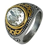 Ammvi Creations Royal Engravings CZ Solitaire Rhodium Polished 316L Stainless Steel Ring for Men