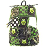 Cute! Patchwork Camo Owl Small Backpack Purse Green Camouflage