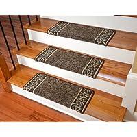 Dean Modern DIY Bullnose Wraparound Non-Skid Carpet Stair Treads - Garden Path Brown