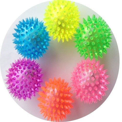 Elife 6pcs Assorted Color Elastic Light-up Spike Ball with LED flash light up for fun/Games - 1